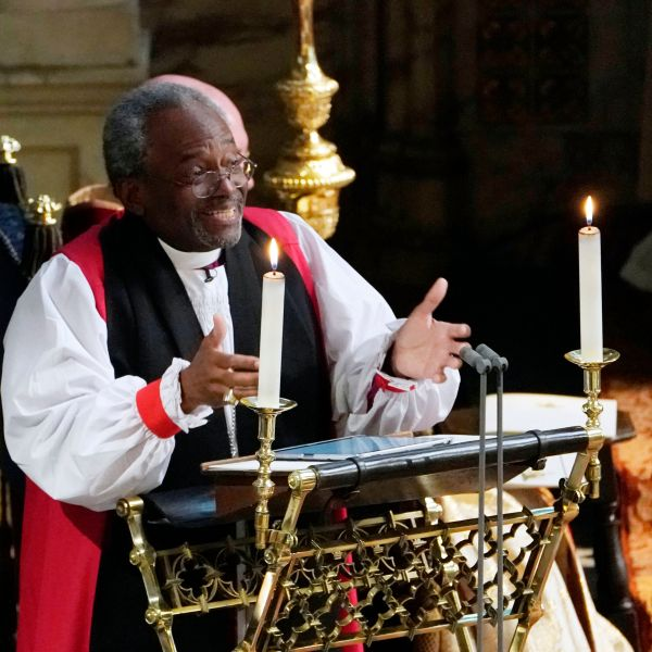 The Most Rev Bishop Michael Curry, primate of the Episcopal Church, gives an address during the wedding of Prince Harry and Meghan Markle in St George's Chapel at Windsor Castle on May 19, 2018 in Windsor, England. (Credit: Owen Humphreys - WPA Pool/Getty Images)