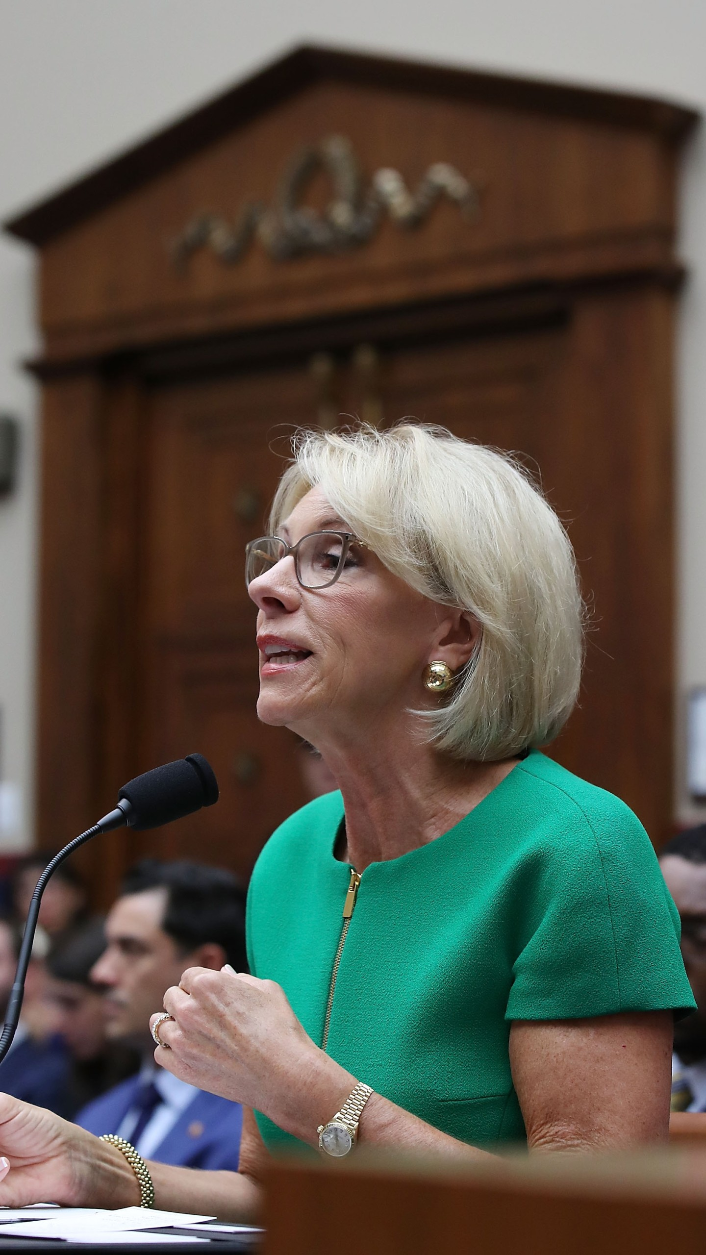 Education Secretary Betsy DeVos testifies during a House Education and the Workforce Committee hearing on Capitol Hill, May 22, 2018, in Washington, D.C. (Credit: Mark Wilson/Getty Images)