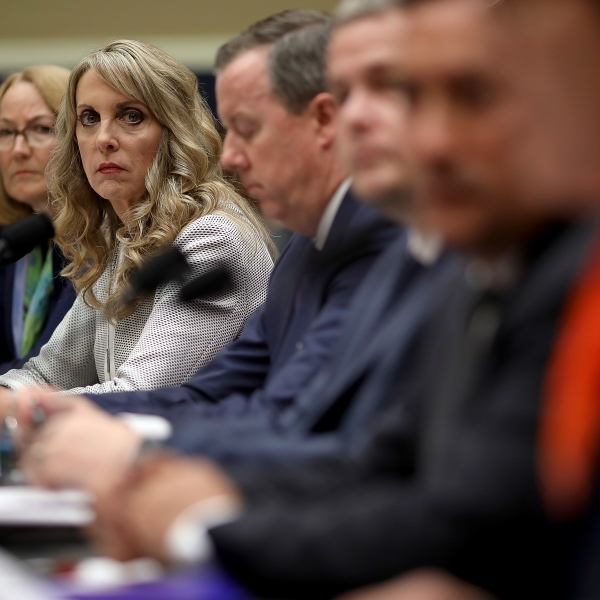 From left: Susanne Lyons, acting CEO of the United States Olympic Committee; Kerry Perry, president and CEO of USA Gymnastics; Tim Hinchey, president and CEO of USA Swimming; Steve McNally, executive director of USA Taekwondo; Jamie Davis, CEO of USA Volleyball and Shellie Pfohl, president and CEO of the U.S. Center for SafeSport testify before the House Oversight and Investigations Subcommittee May 23, 2018 in Washington, D.C. (Credit: Win McNamee/Getty Images)