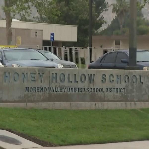 Honey Hollow Elementary School in Moreno Valley is seen on May 23, 2018. (Credit: KTLA)