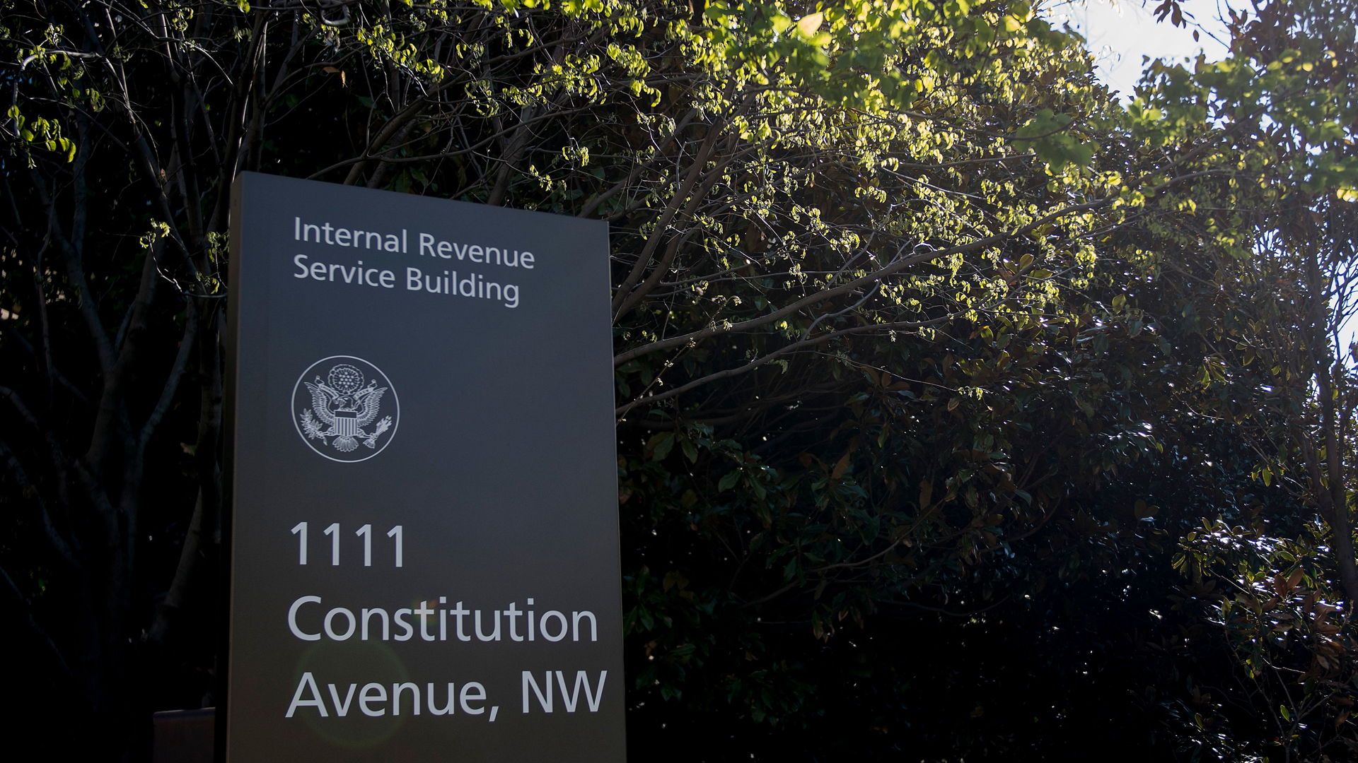 A sign for the Internal Revenue Service building is viewed in Washington, DC, on April 18, 2018. (Credit: JIM WATSON/AFP/Getty Images)