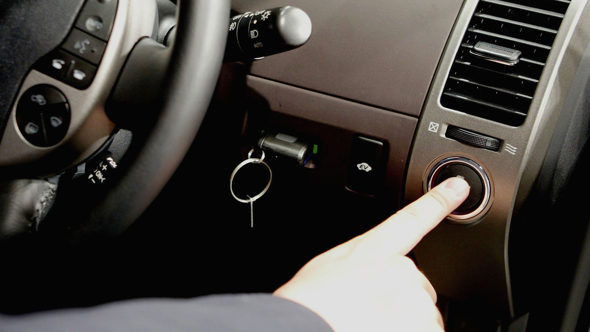 A keyless ignition button is seen in a file photo. (Credit: Koichi Kamoshida/Getty Images)