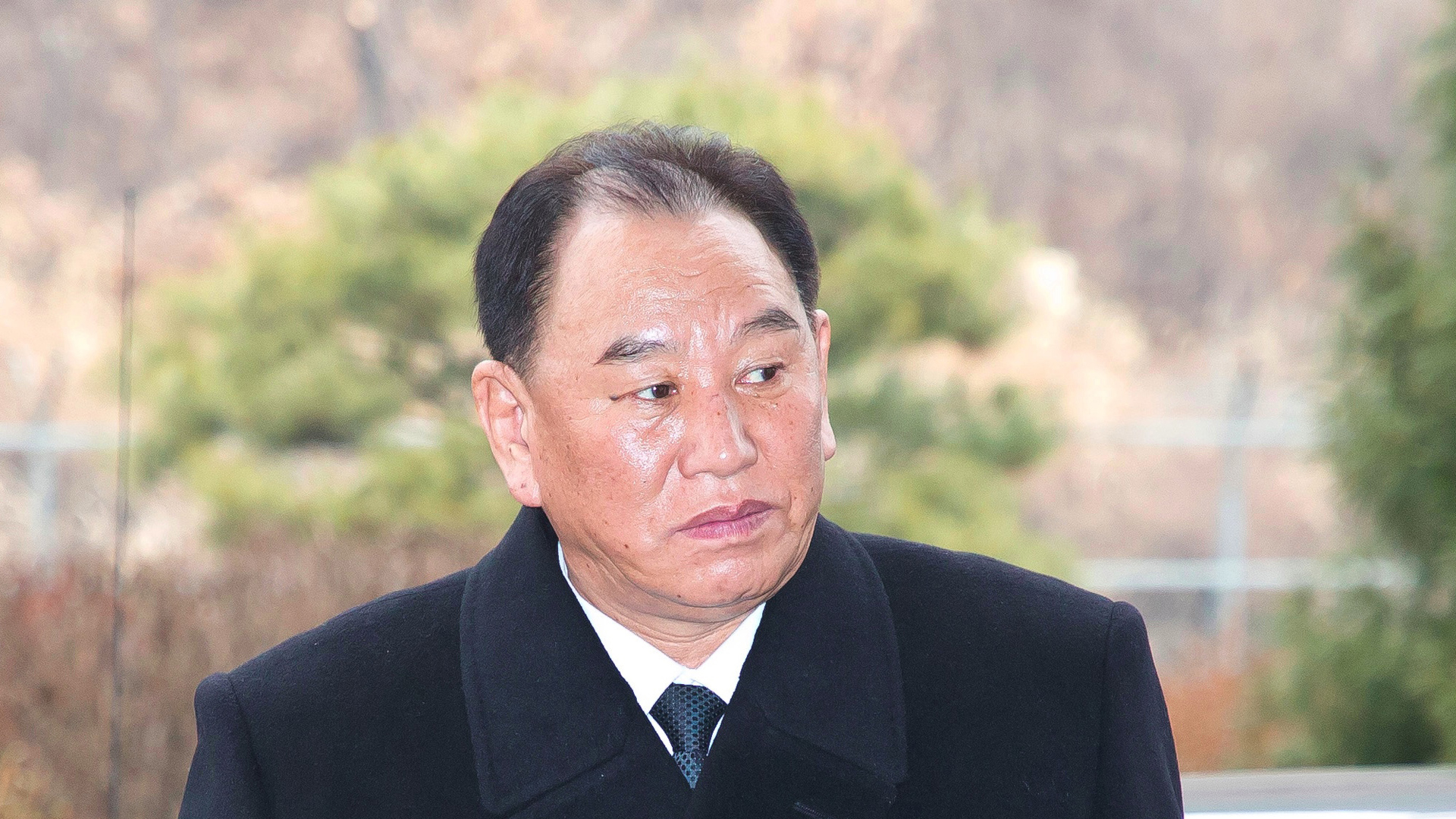 General Kim Yong Chol, who is in charge of inter-Korean affairs for North Korea's ruling Workers' Party, arrives to leave for North Korea from the inter-Korea transit office in Paju near the Demilitarized zone dividing the two Koreas on February 27, 2018. (Credit: Korea Pool/AFP/Getty Images)