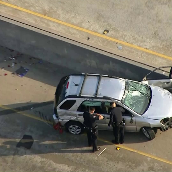 A man was killed after his car was involved in a single-vehicle crash on the 710 Freeway in Long Beach on May 2, 2018. (Credit: KTLA)