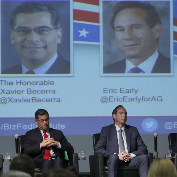 Candidates, from left, Steven Bailey, state Atty. Gen. Xavier Becerra, Eric Early and Insurance Commissioner Dave Jones at a debate on May 15, 2018. (Credit: Luis Sinco / Los Angeles Times)