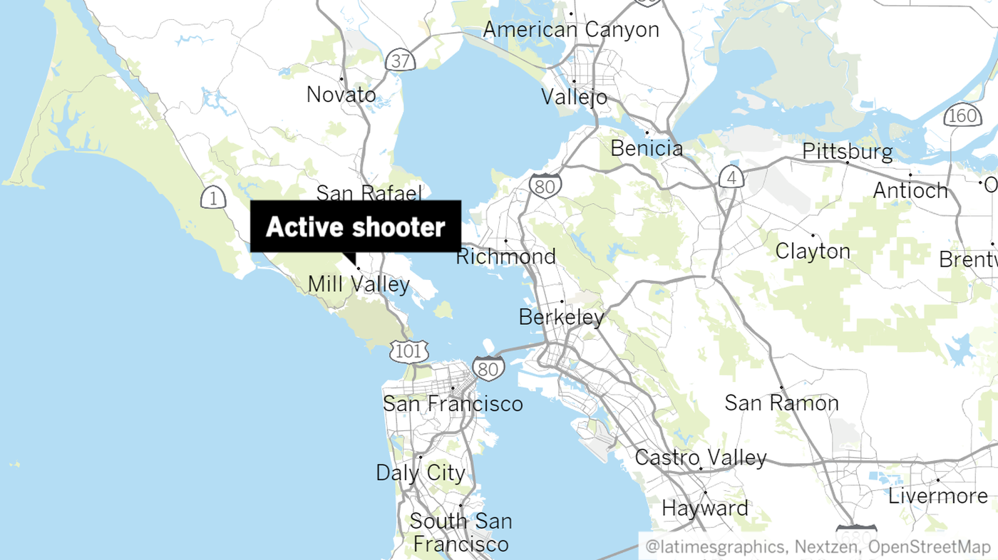 A Los Angeles Times map shows the location of a shooting in Marin County on May 3, 2018.