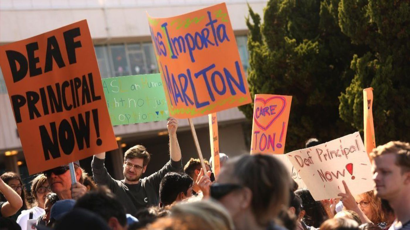 Parents, students and alumni of the Marlton School in Baldwin Hills rally to demand new leadership amid frustration over high turnover, cuts to extracurricular programs and sports — and the absence of high-level staff fluent in American Sign Language in this undated photo. (Credit: Genaro Molina / Los Angeles Times)