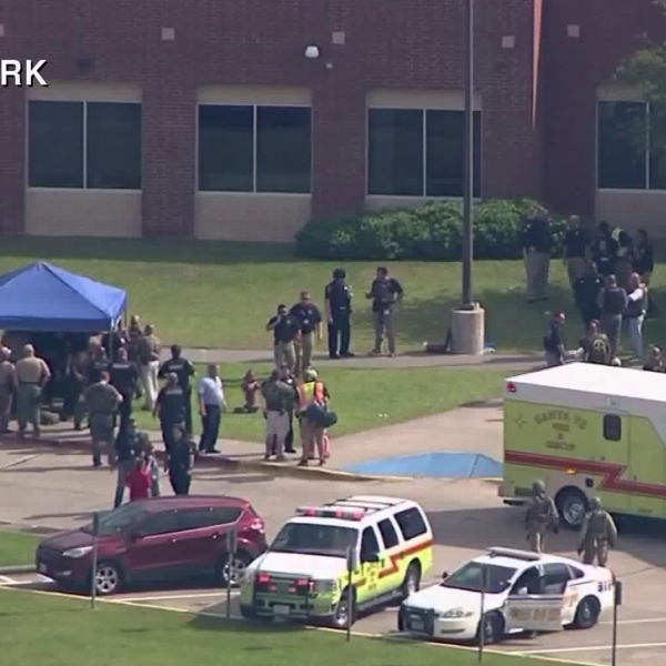Authorities respond to a school shooting at Santa Fe High School in Texas on May 18, 2018. (Credit: KTRK via CNN)
