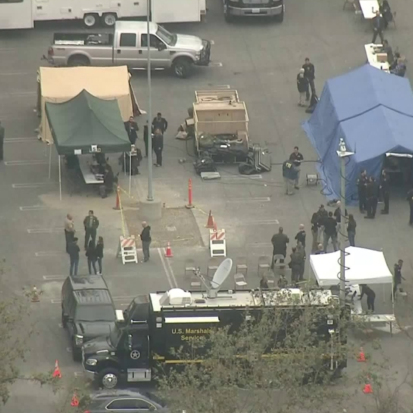 Several agencies were involved in a raid targeting the Mexican Mafia on May 23, 2018. (Credit: KTLA)