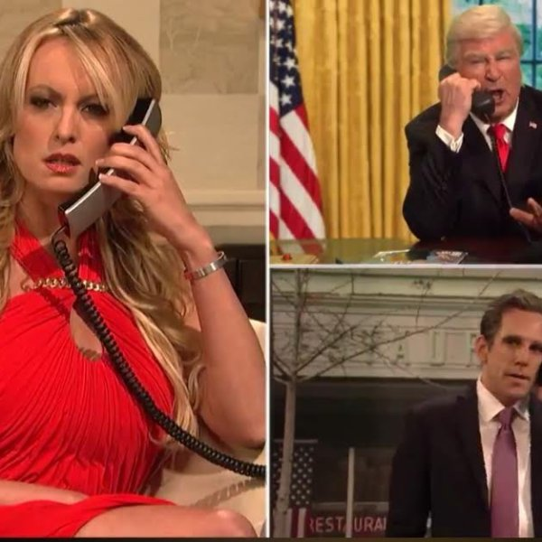 "Stormy Daniels appears alongside actors Alec Baldwin and Ben Stiller in a skit on ""Saturday Night Live"" on May 5, 2018. (Credit: NBC via CNN)"