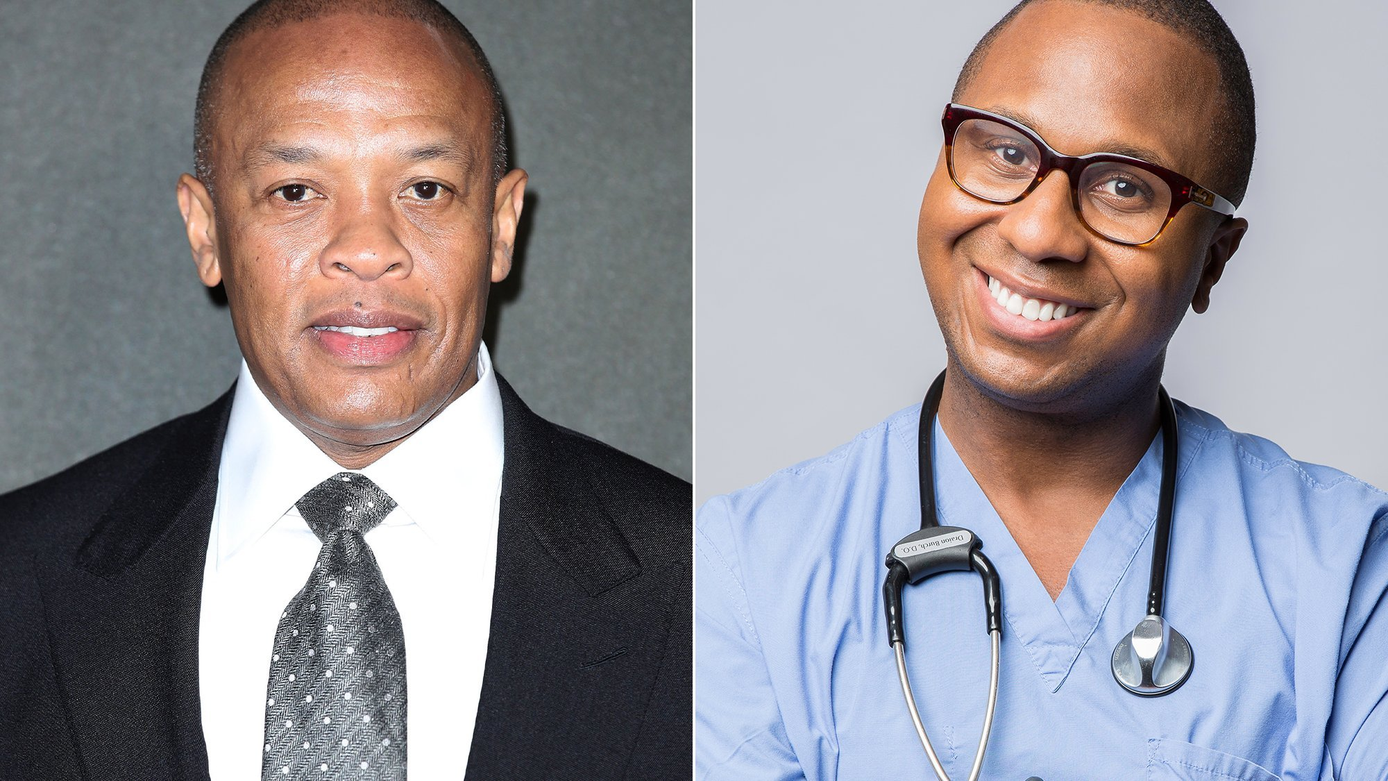 Rapper Dr. Dre, left, is seen in a photo from Getty Images, and OB-GYN Dr. Drai is seen in a photo from his website. (Credit: CNN)