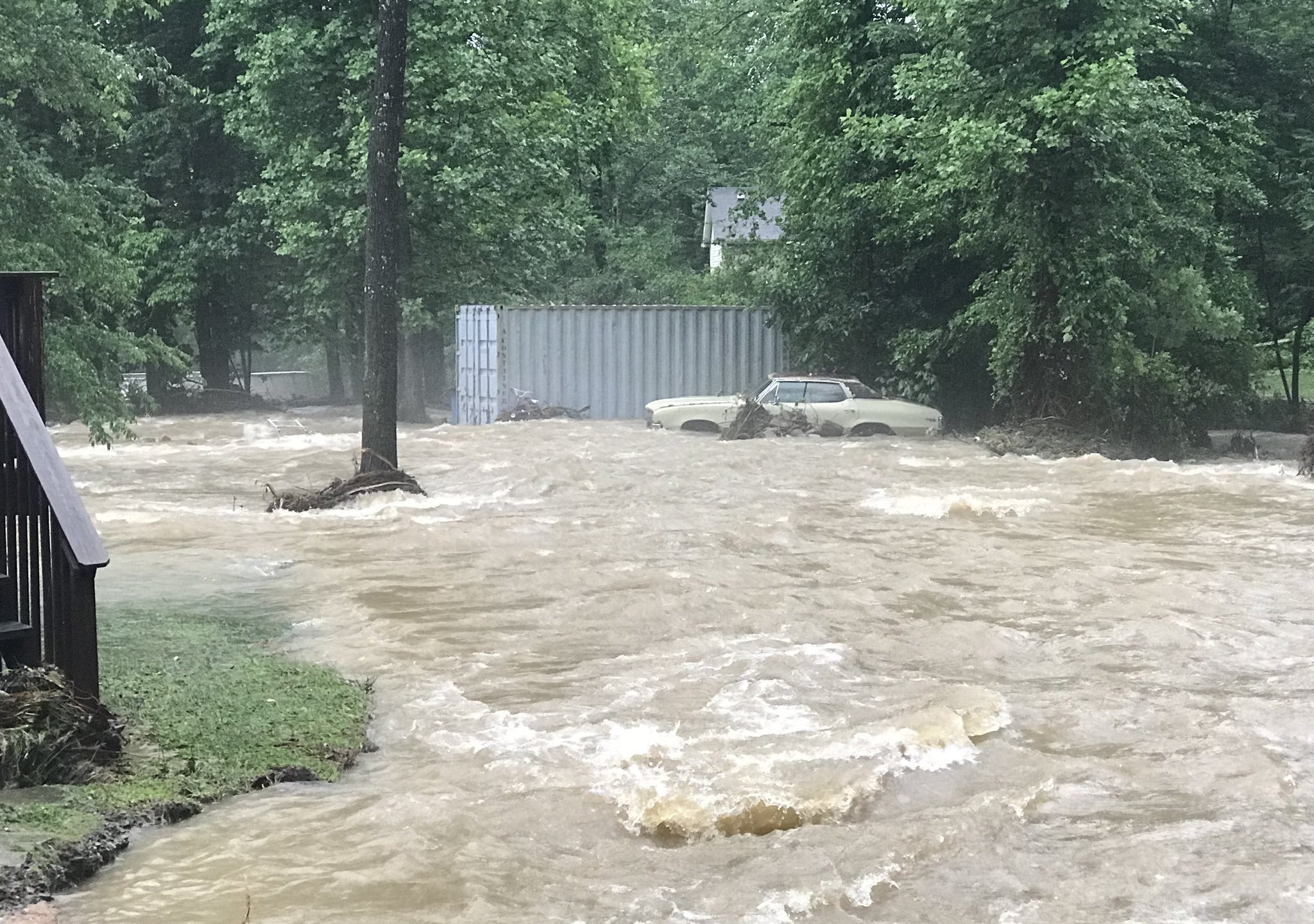 Floodwaters in McDowell County, North Carolina, have reached levels not seen since 2004 with Hurricane Frances/Ivan. (Credit: Nathan West/Twitter via CNN)