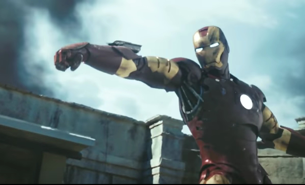 "The Iron Man suit is seen a still from a trailer for the 2008 film ""Iron Man."""