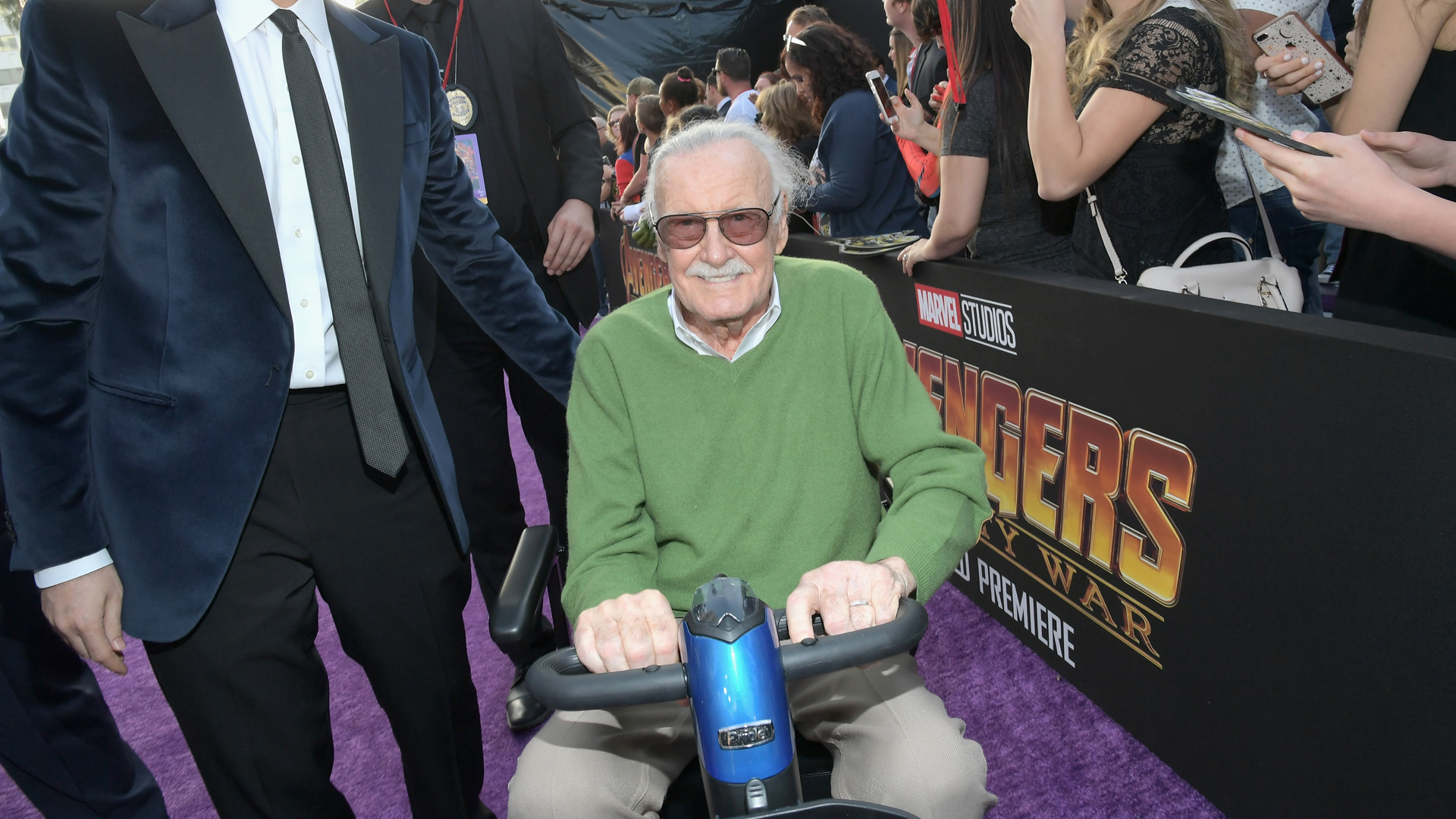 """Stan Lee attend the Los Angeles Global Premiere for """"Avengers: Infinity War"""" on April 23, 2018 in Hollywood. (Credit: Charley Gallay/Getty Images for Disney)"""