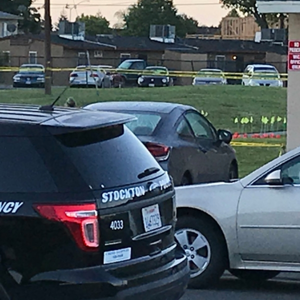 Stockton police remain at the scene of a fatal shooting on May 14, 2018. (Credit: Pedro Rivera, KTXL)