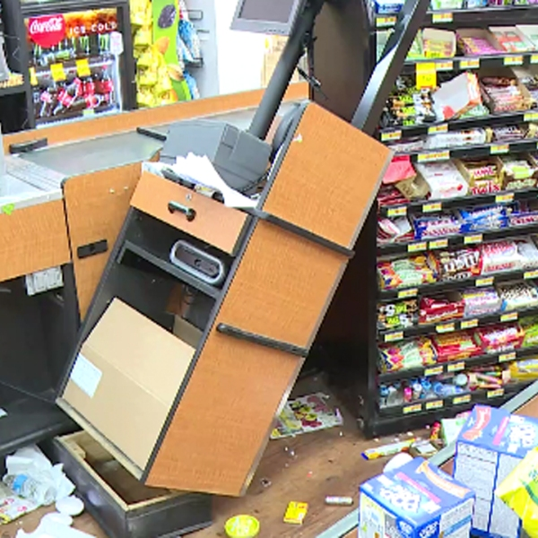 A hit-and-run driver crashed into a store in Lomita on May 3, 2018. (Credit: RMG News)