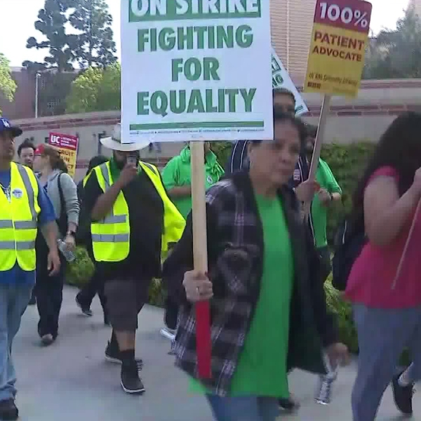 UC workers picket outside the UCLA campus on May 8, 2018. (Credit: KTLA)