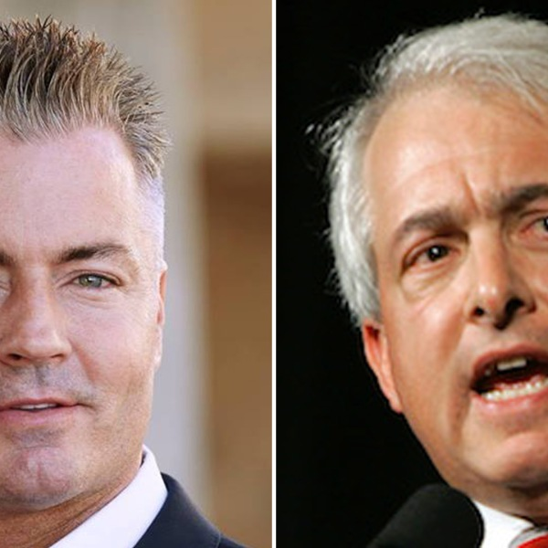 Travis Allen and John Cox are seen in images posted to their Facebook pages in 2018.