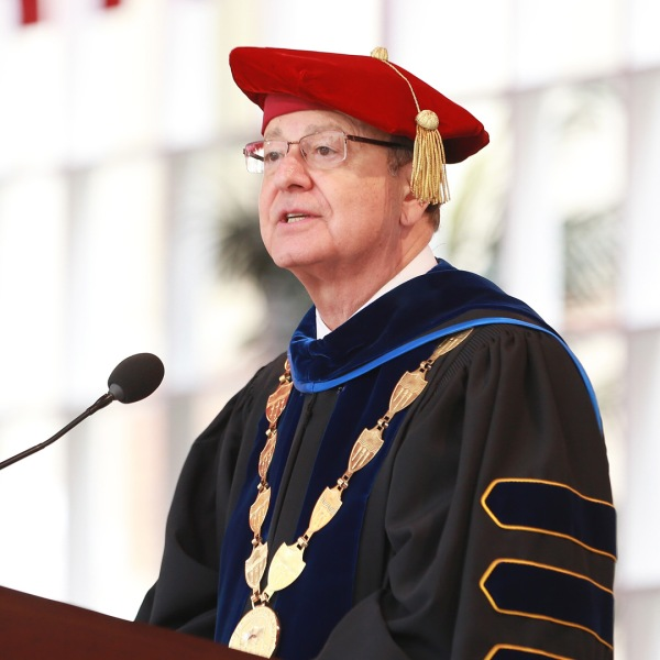 USC President C.L. Max Nikias attends the University of Southern California's commencement ceremony at Alumni Park on May 11, 2018. (Credit: Leon Bennett/Getty Images)