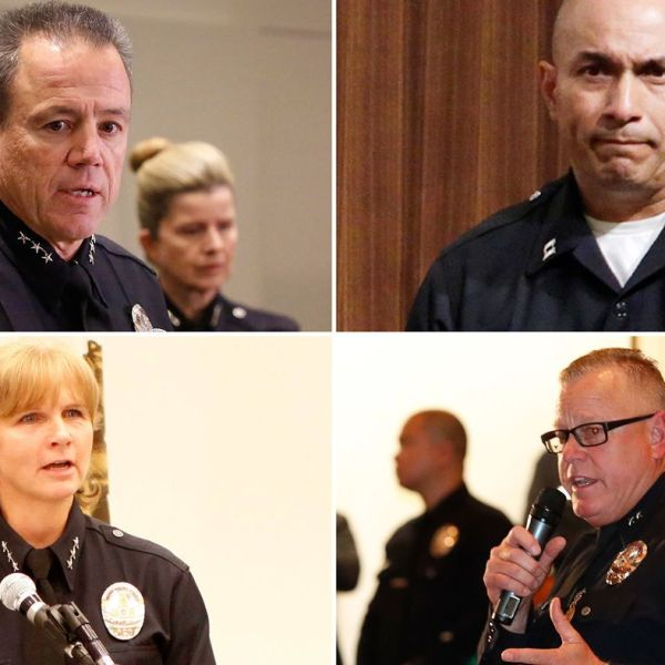The list of candidates to be the new LAPD chief include: clockwise from top left, Assistant Chief Michel Moore, Deputy Chief Robert Arcos, Deputy Chief Phil Tingirides and former Assistant Chief Sandy Jo MacArthur. (Credit: Los Angeles Times)