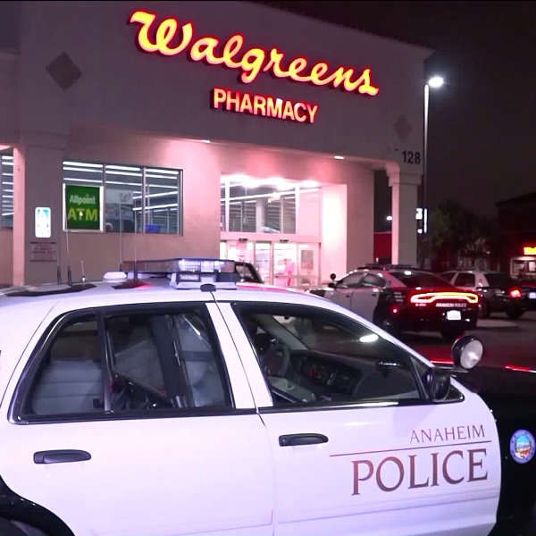 Police investigate an armed robbery at a Walgreens in Anaheim on May 11, 2018. (Credit: OnScene.TV)