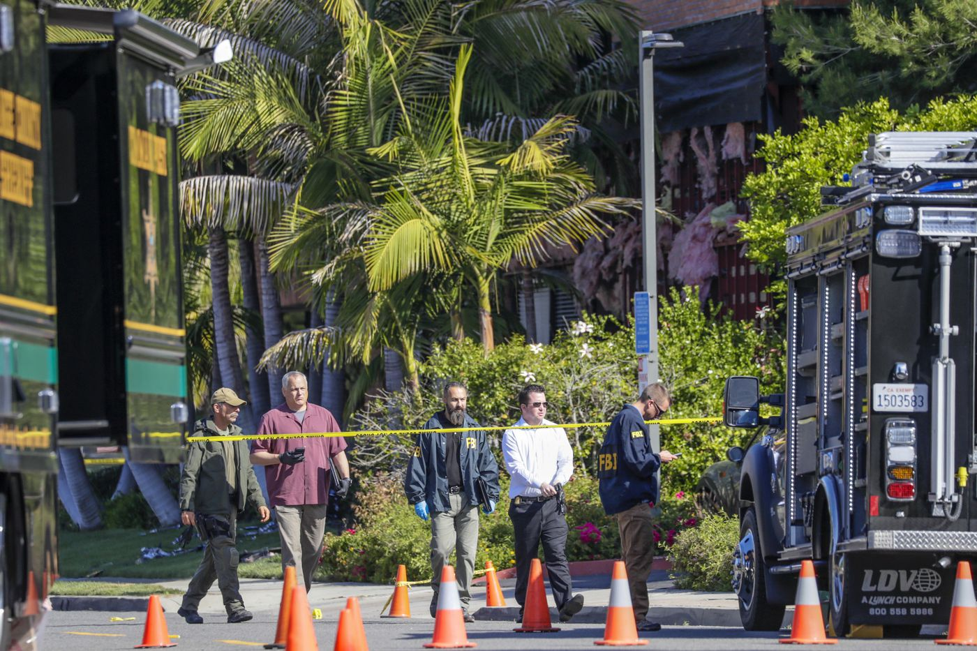 Officials investigate an Aliso Viejo bombing that killed a woman last month. (Credit: Irfan Khan / Los Angeles Times)
