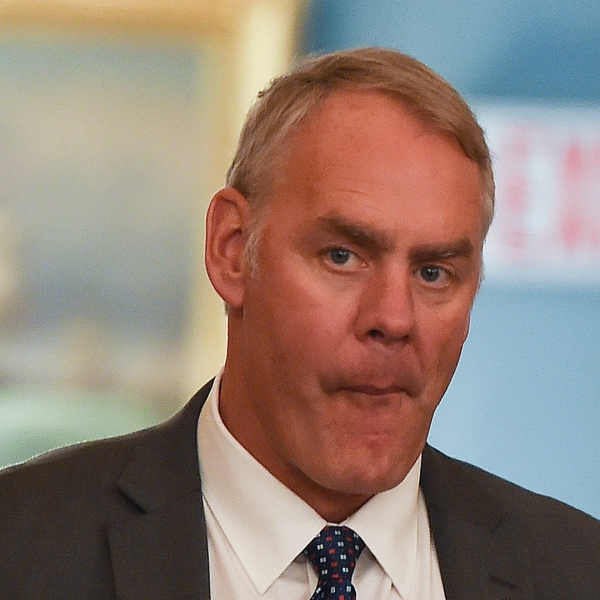 U.S. Secretary of the Interior Ryan Zinke looks on before a luncheon at the State Department in Washington, DC on April 24, 2018. (Credit: ANDREW CABALLERO-REYNOLDS/AFP/Getty Images)