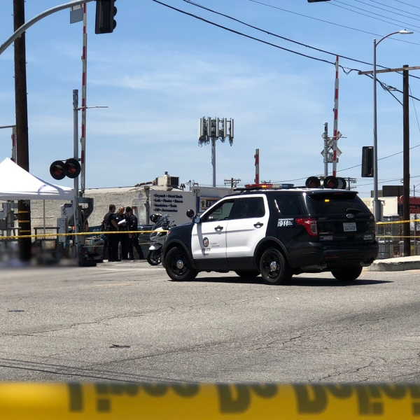 Authorities investigate after a person was struck and killed by an Amtrak train in Sun Valley on June 10, 2018. (Credit: KTLA)