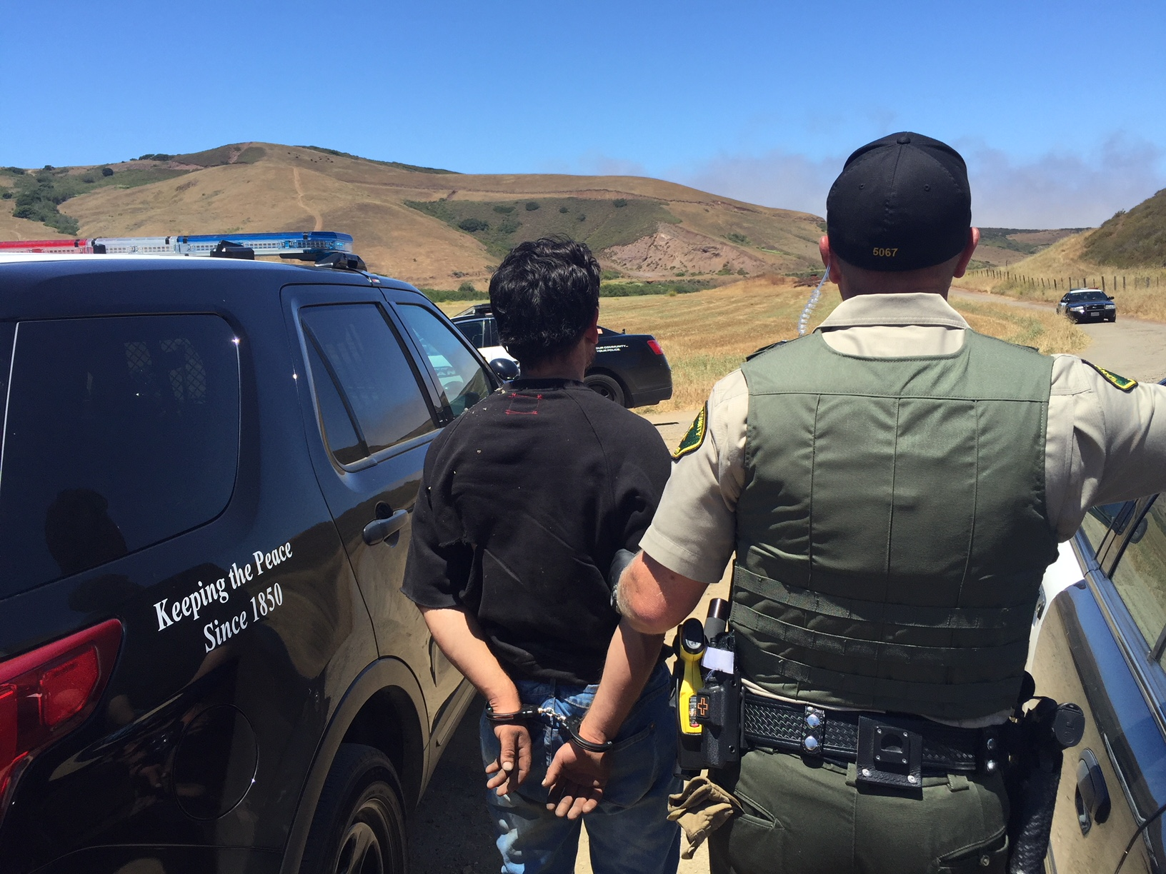 The Santa Barbara County Sheriff's Office provided this image of officers arresting Brandon Morales-Gomez in Guadalupe on June 22, 2018.