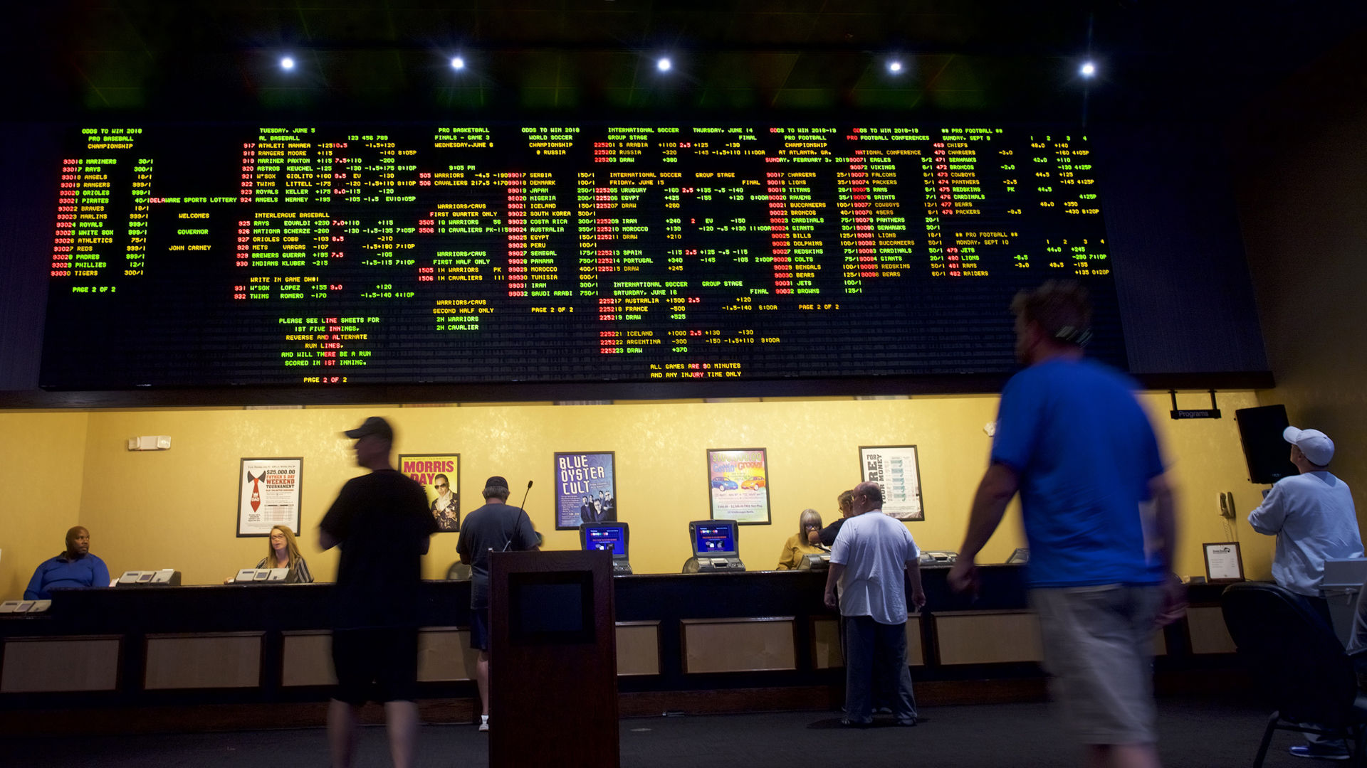 People place bets at Dover Downs Casino on June 5, 2018 in Dover, Delaware. (Credit: Mark Makela/Getty Images)