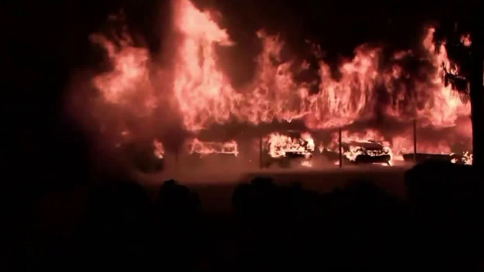 Vehicles burn in a massive carport fire in Hemet on June 15, 2018. (Credit: Hemet Valley Incidents)