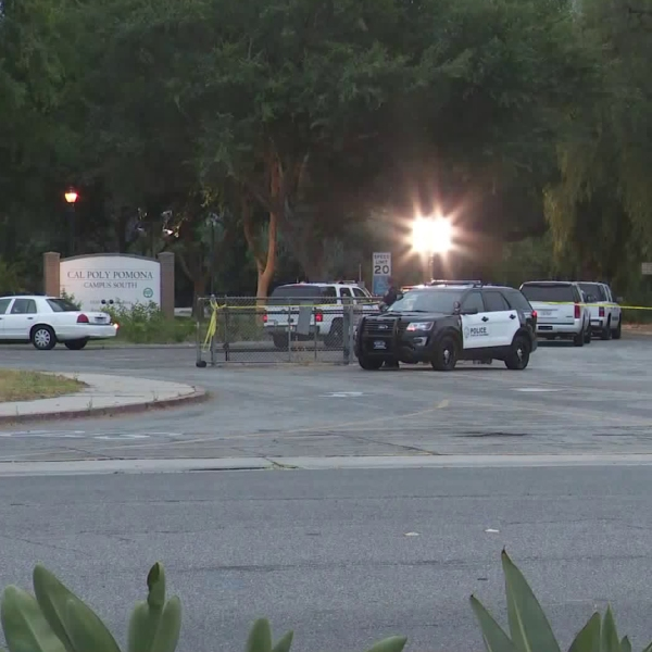 Law enforcement vehicles are seen on the campus of Cal Poly Pomona on June 30, 2018. (Credit: KTLA)