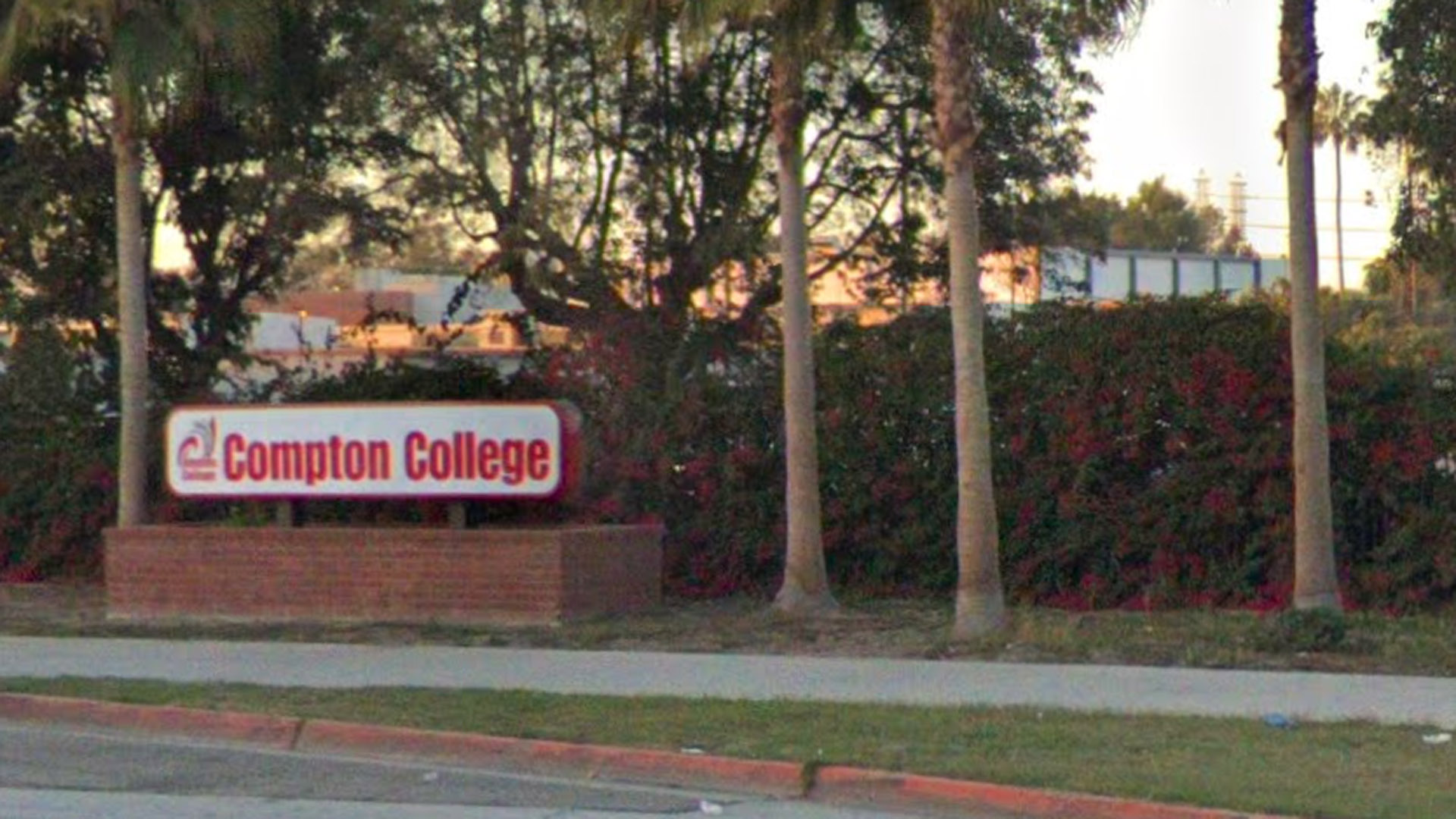 An Google Maps image shows a sign for Compton College in Compton.