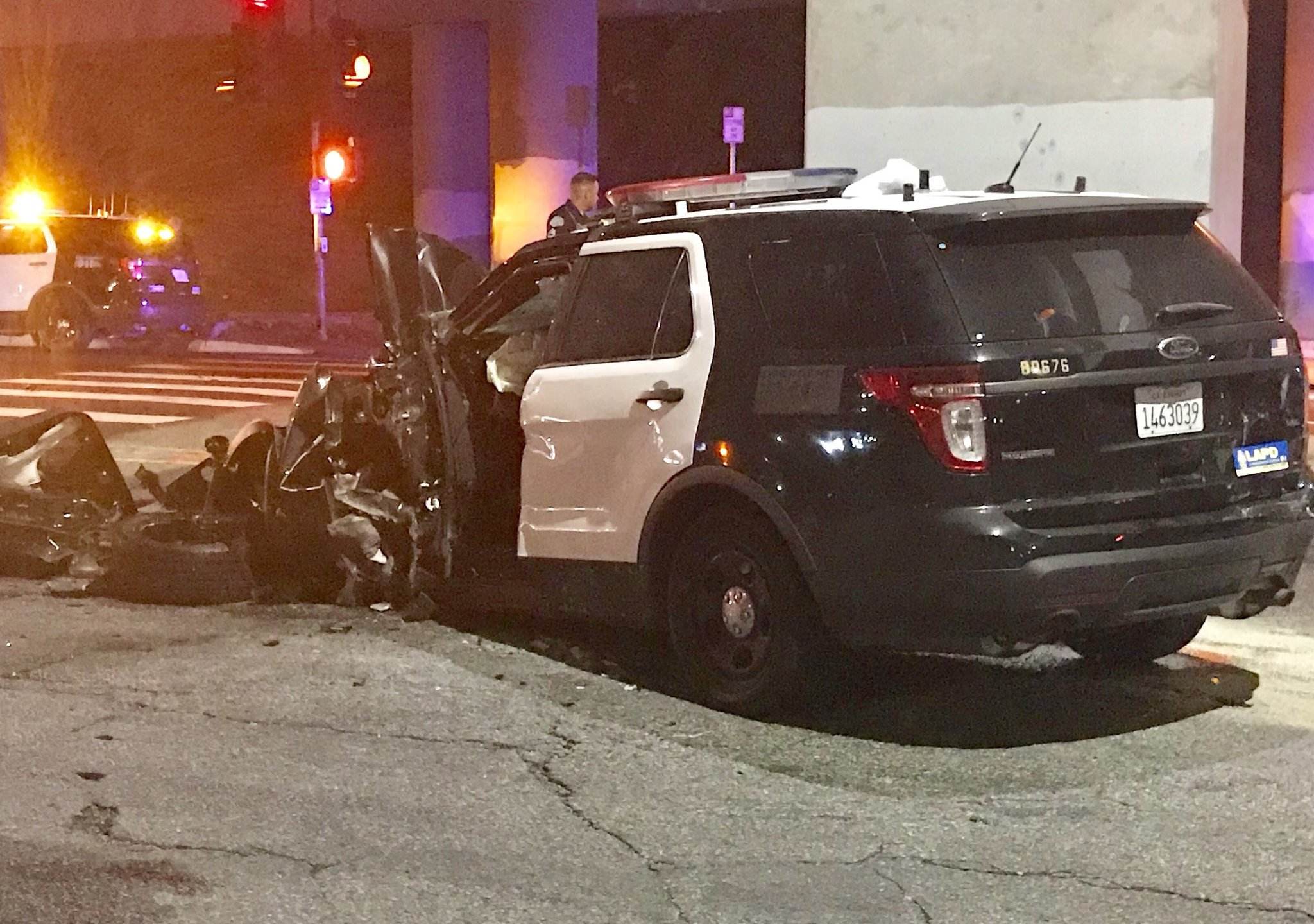 A Los Angeles police sergeant was injured in a hit-and-run involving a domestic violence suspect on June 26, 2018. (Credit: Officer Kenny Lew via Twitter)