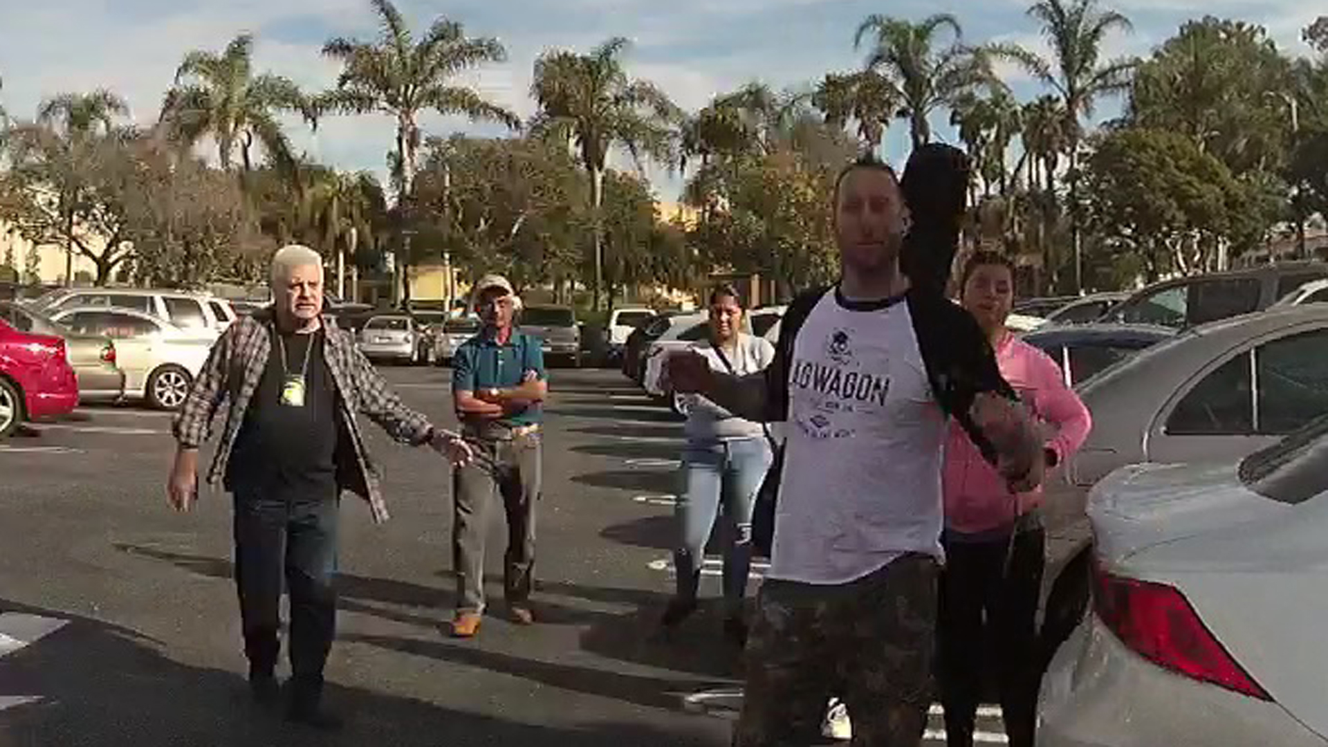 The U.S. Attorney's Office provided this still from a police body camera recording showing Farad Bell wearing a fake badge outside the Pacific View Mall in Ventura on Dec. 2, 2017.