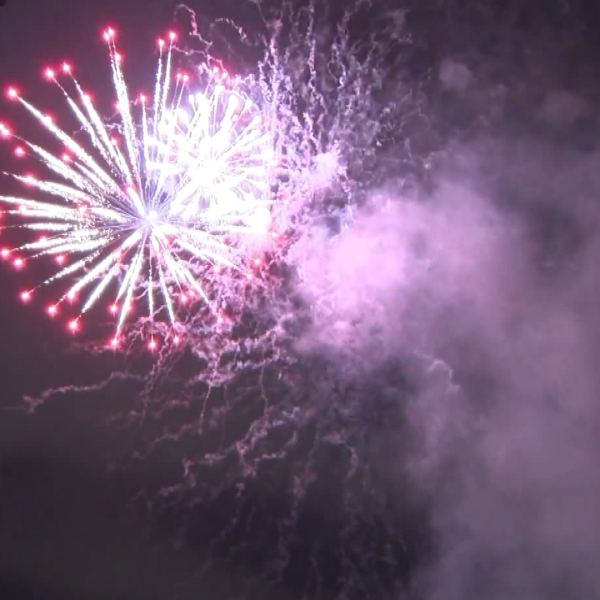 A fireworks show lights up the sky just days ahead of the Fourth of July at Santa Monica College on June 30, 2018.