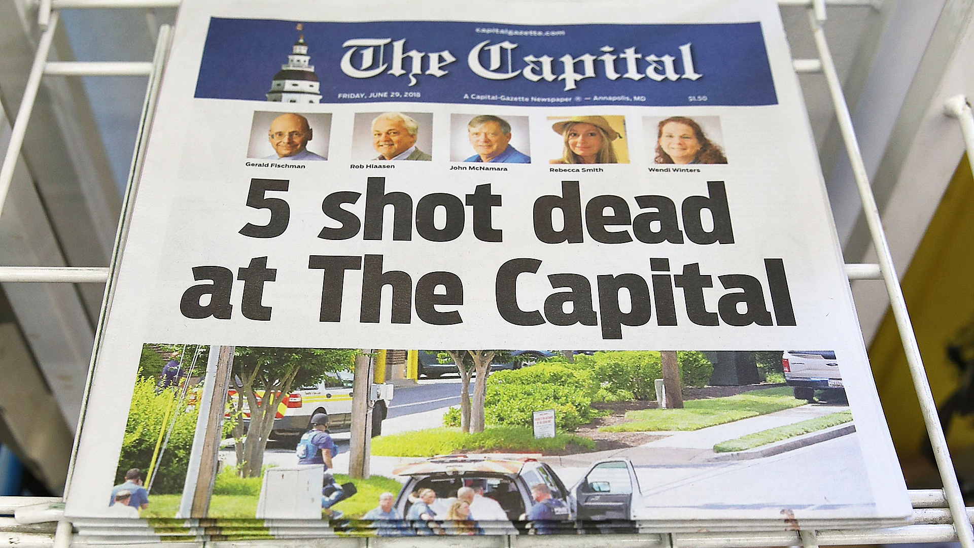 Today's edition of the the Capital Gazette for sale on a newspaper stand, on June 289, 2018 in Annapolis, Maryland. (Credit: Mark Wilson/Getty Images)