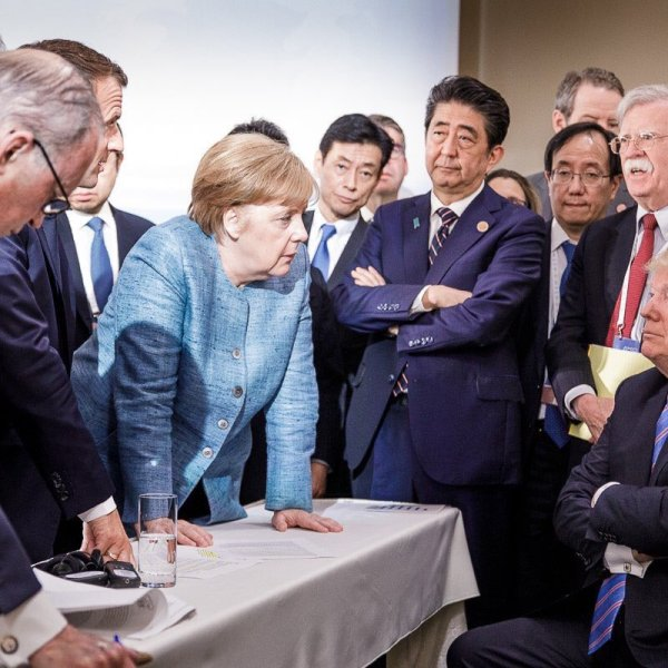 The German permanent representation to the European Union tweeted this image of Donald Trump surrounded by other leaders, including Angela Merkel, on June 9, 2018 at the G-7 summit in Canada.