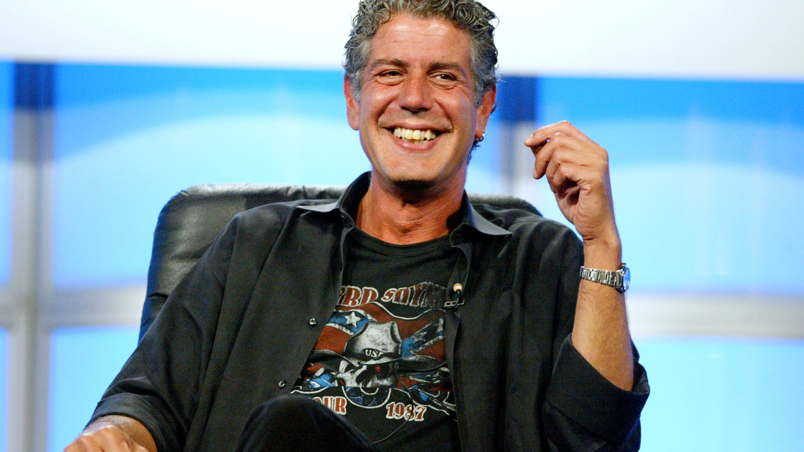 "Anthony Bourdain attends the panel discussion for ""Anthony Bourdain: No Reservations"" during the Discovery Networks' Travel Channel presentation at the 2005 Television Critics Association Summer Press Tour at the Beverly Hilton Hotel on July 16, 2005 in Beverly Hills. (Credit: Frederick M. Brown/Getty Images)"