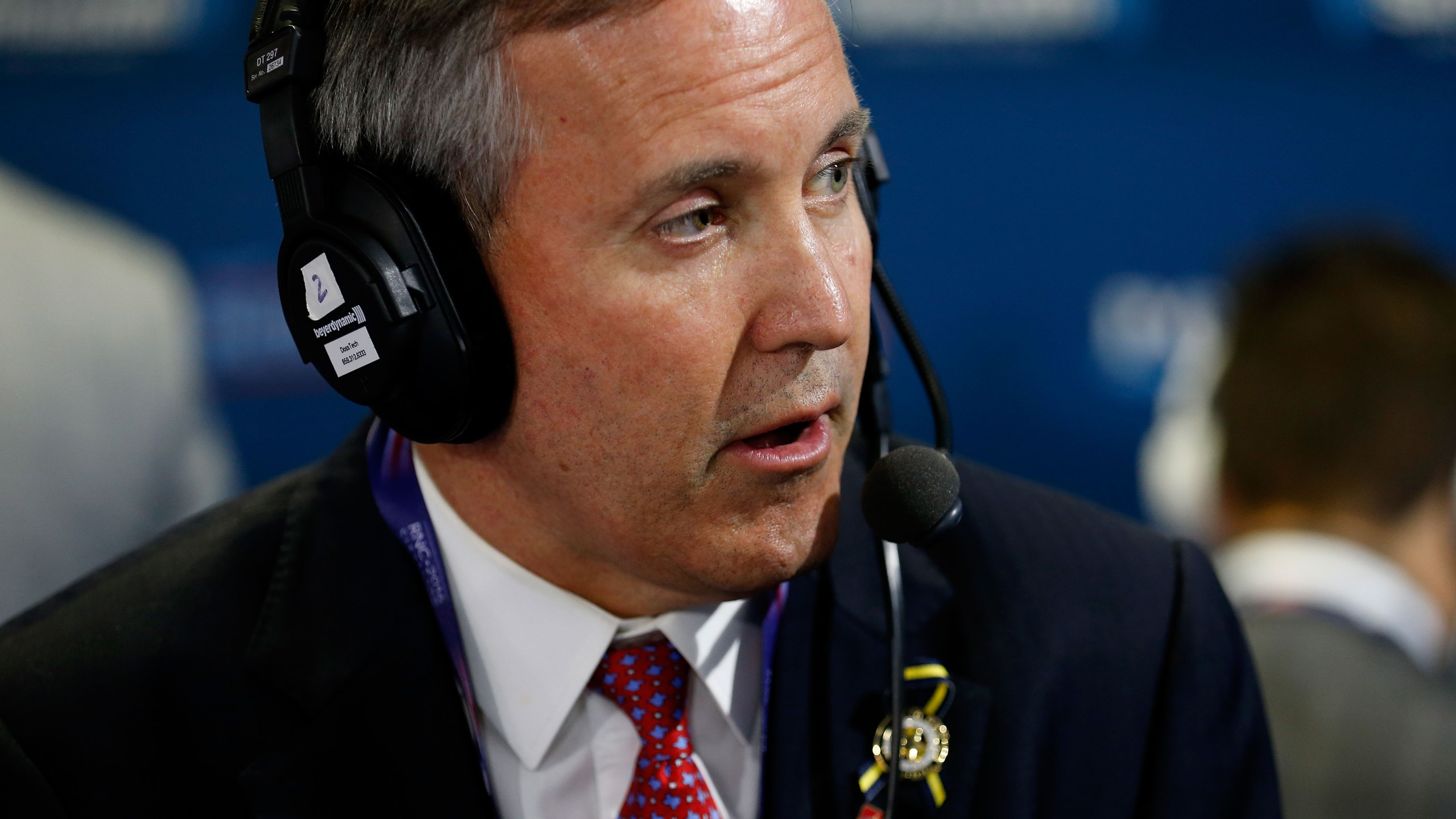 """Texas Attorney General Ken Paxton sits down to talk with Andrew Wilkow on his show """"The Wilkow Majority"""" at Quicken Loans Arena on July 20, 2016, in Cleveland, Ohio. (Credit: Kirk Irwin/Getty Images for SiriusXM)"""