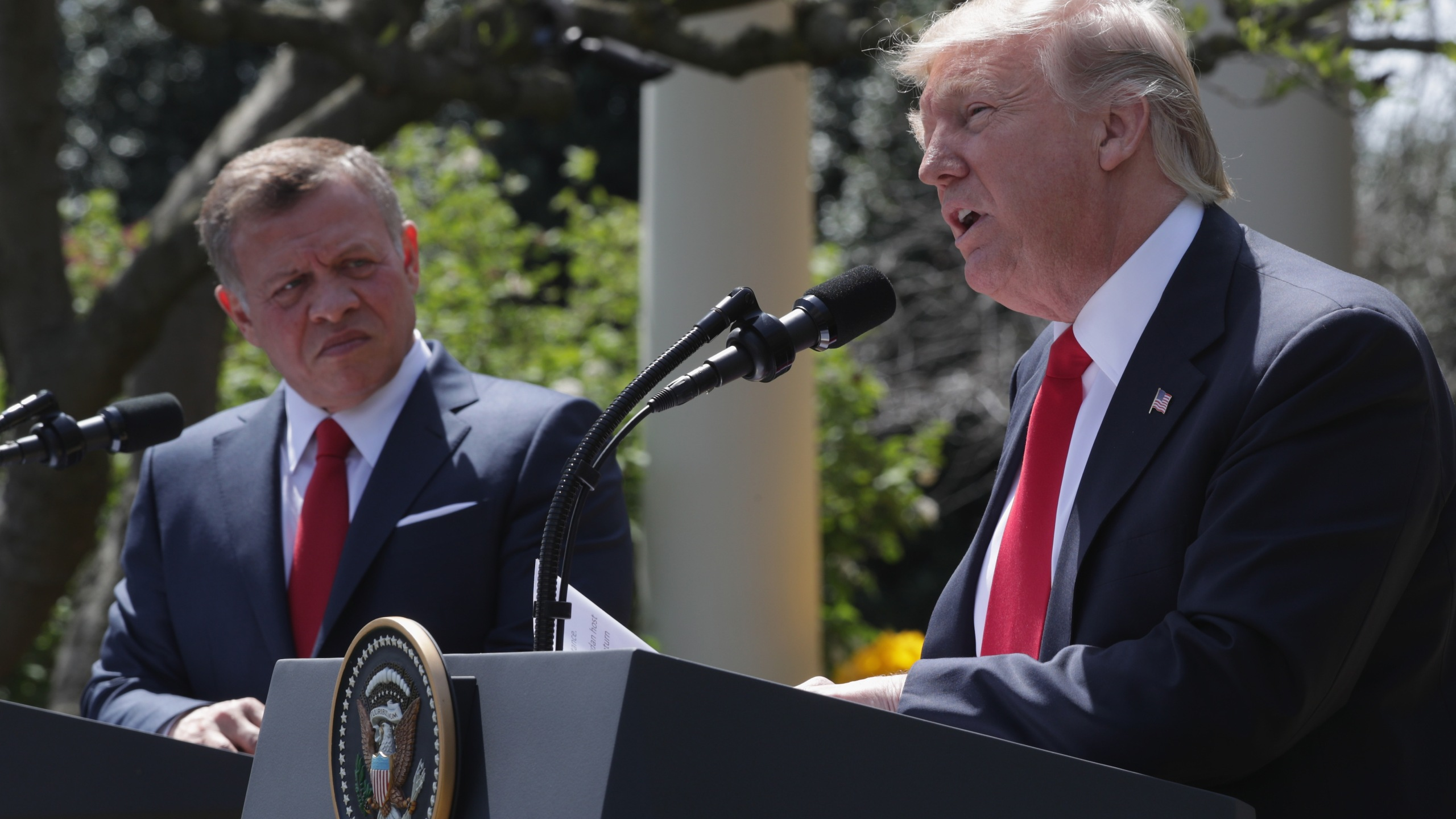 U.S. President Donald Trump and King Abdullah II of Jordan participate in a joint news conference at the Rose Garden of the White House April 5, 2017, in Washington, D.C. (Credit: Alex Wong/Getty Images)