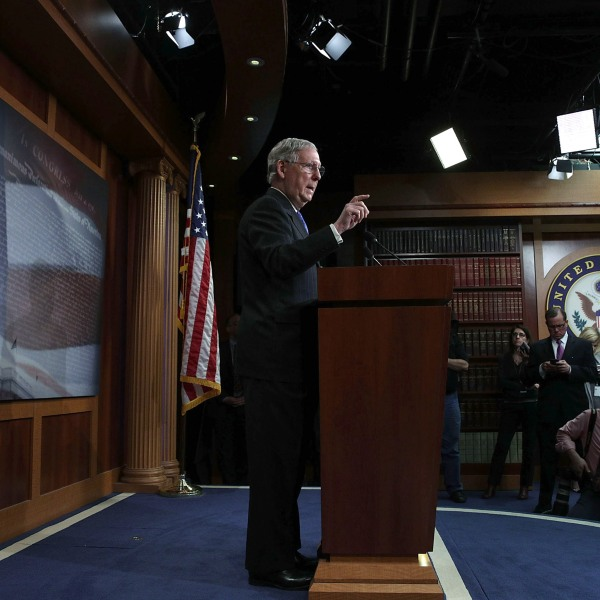 U.S. Senate Majority Leader Sen. Mitch McConnell (R-KY) speaks during a news conference at the Capitol April 7, 2017 in Washington, D.C. (Credit: Alex Wong/Getty Images)