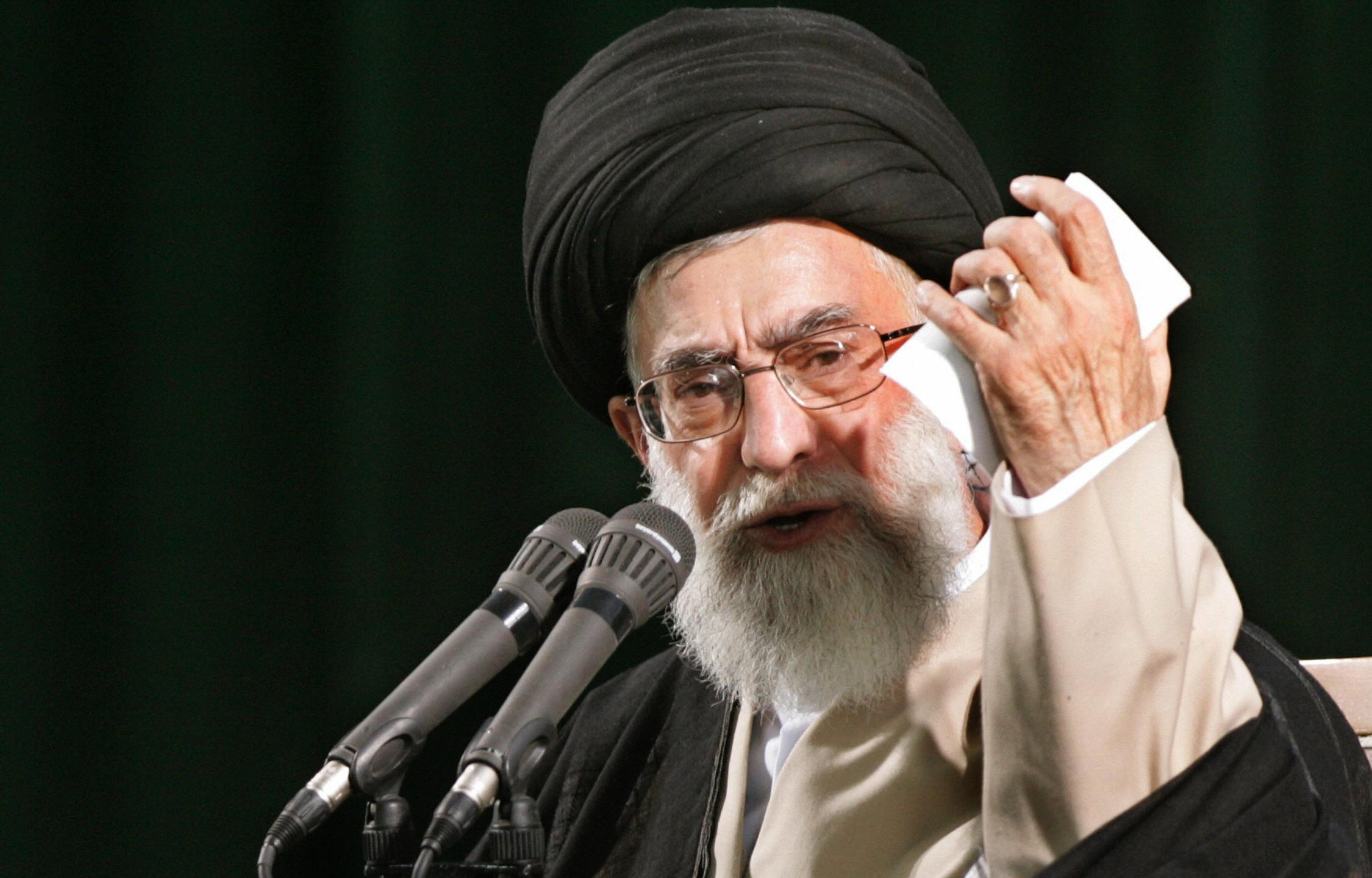 Iran's supreme leader Ayatollah Ali Khamenei delivers a speech during the 18th anniversary of the death of Iran's revolutionary founder Ayatollah Ruhollah Khomeini at the latter's mausoleum in Tehran, 04 June 2007. (Credit: ATTA KENARE/AFP/Getty Images)