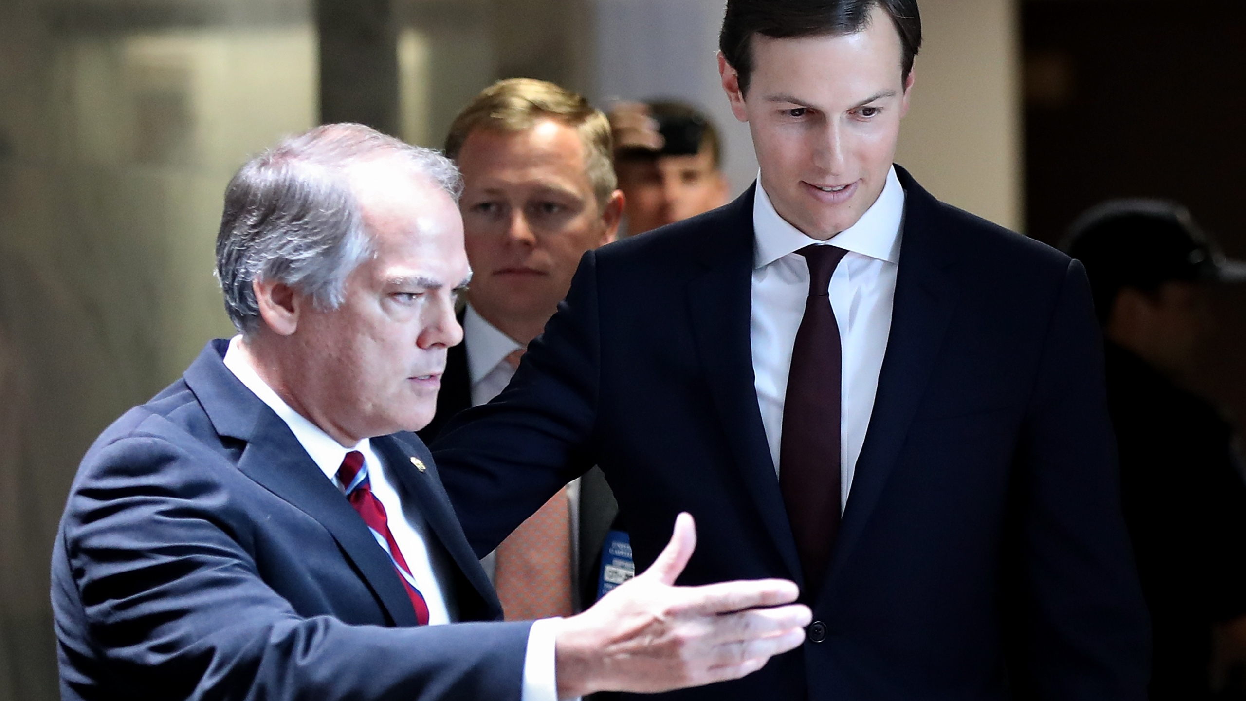 James Wolfe, left, is seen with Jared Kushner after a Senate Select Committee on Intelligence meeting on July 24, 2017 in Washington, D.C. (Credit: Win McNamee/Getty Images)