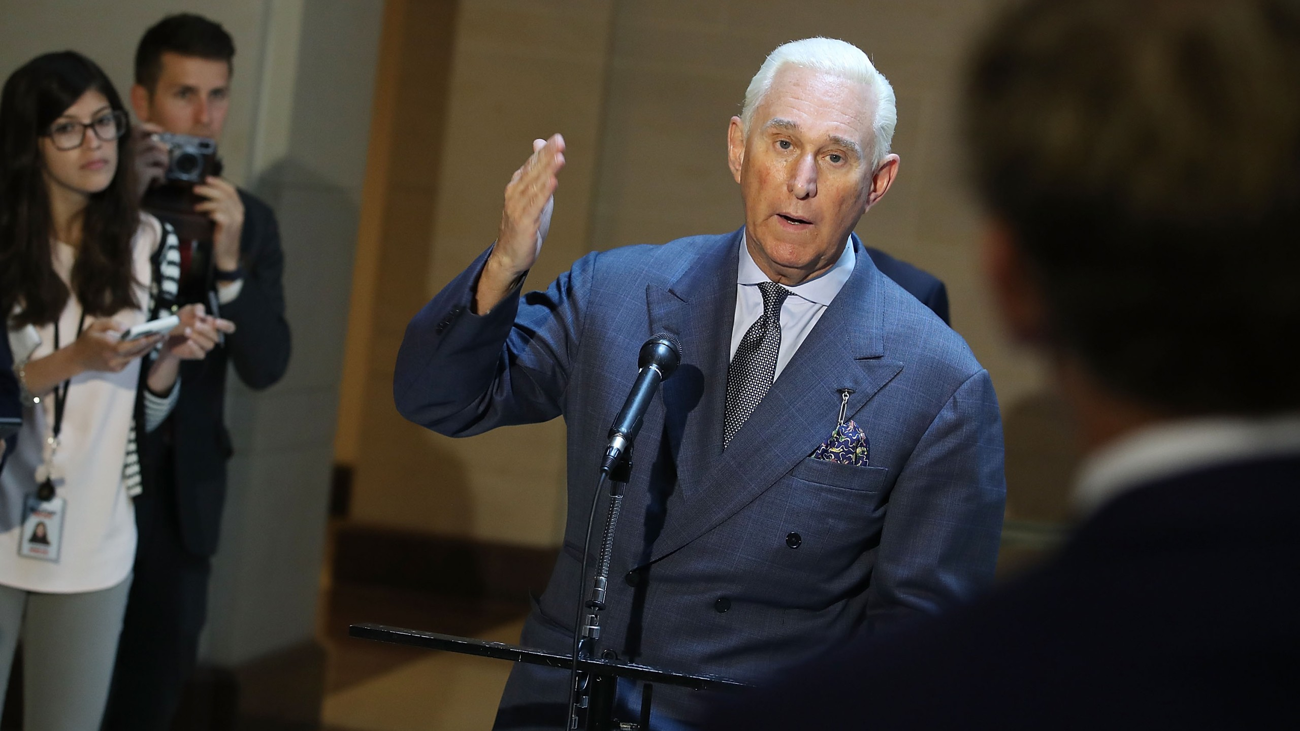Roger Stone, former confidant to President Donald Trump speaks to the media on September 26, 2017, in Washington, D.C. (Credit: Mark Wilson/Getty Images)