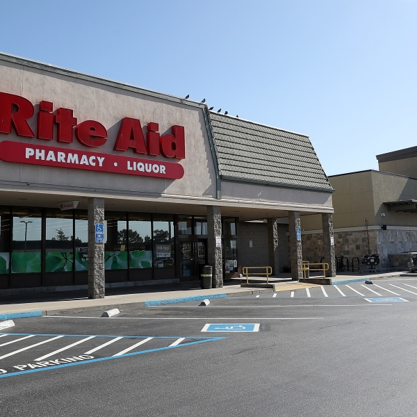 A Rite Aid store stands next to a Safeway store at the Fairmont Center on February 20, 2018, in Pacifica. (Credit: Justin Sullivan/Getty Images)