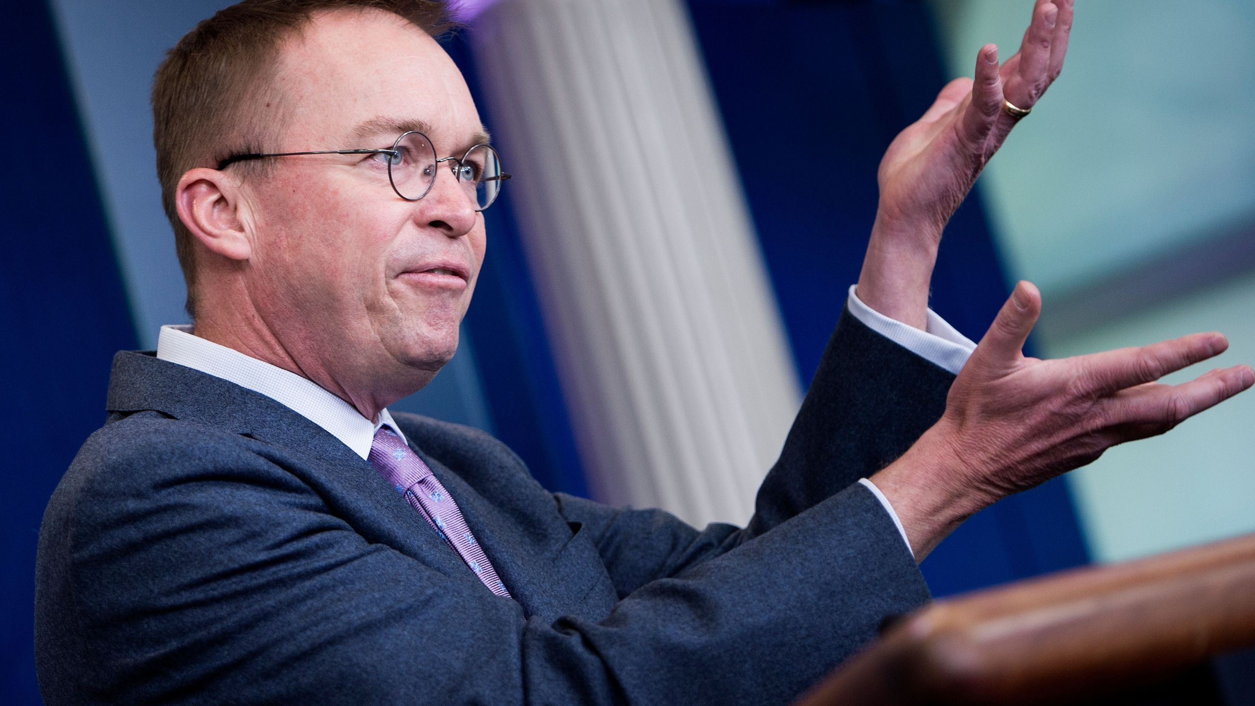 Office of Management and Budget Director Mick Mulvaney speaks about the Consolidated Appropriations Act of 2018 at the White House March 22, 2018. Credit: BRENDAN SMIALOWSKI/AFP/Getty Images)