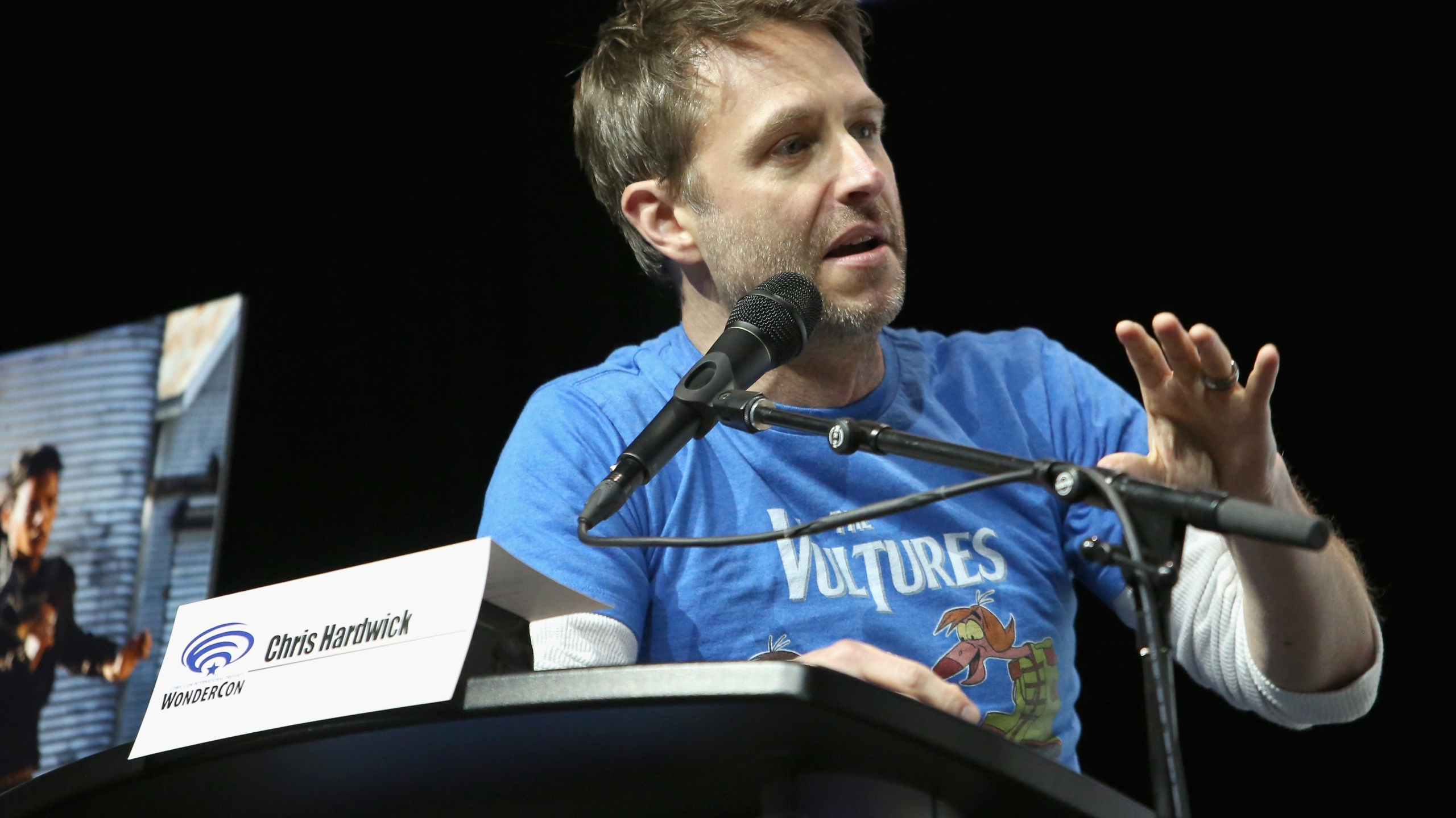 Moderator Chris Hardwick speaks onstage during AMC's 'Fear of the Walking Dead' panel at WonderCon at Anaheim Convention Center on March 24, 2018 in Anaheim, California. (Credit: Jesse Grant/Getty Images for AMC)