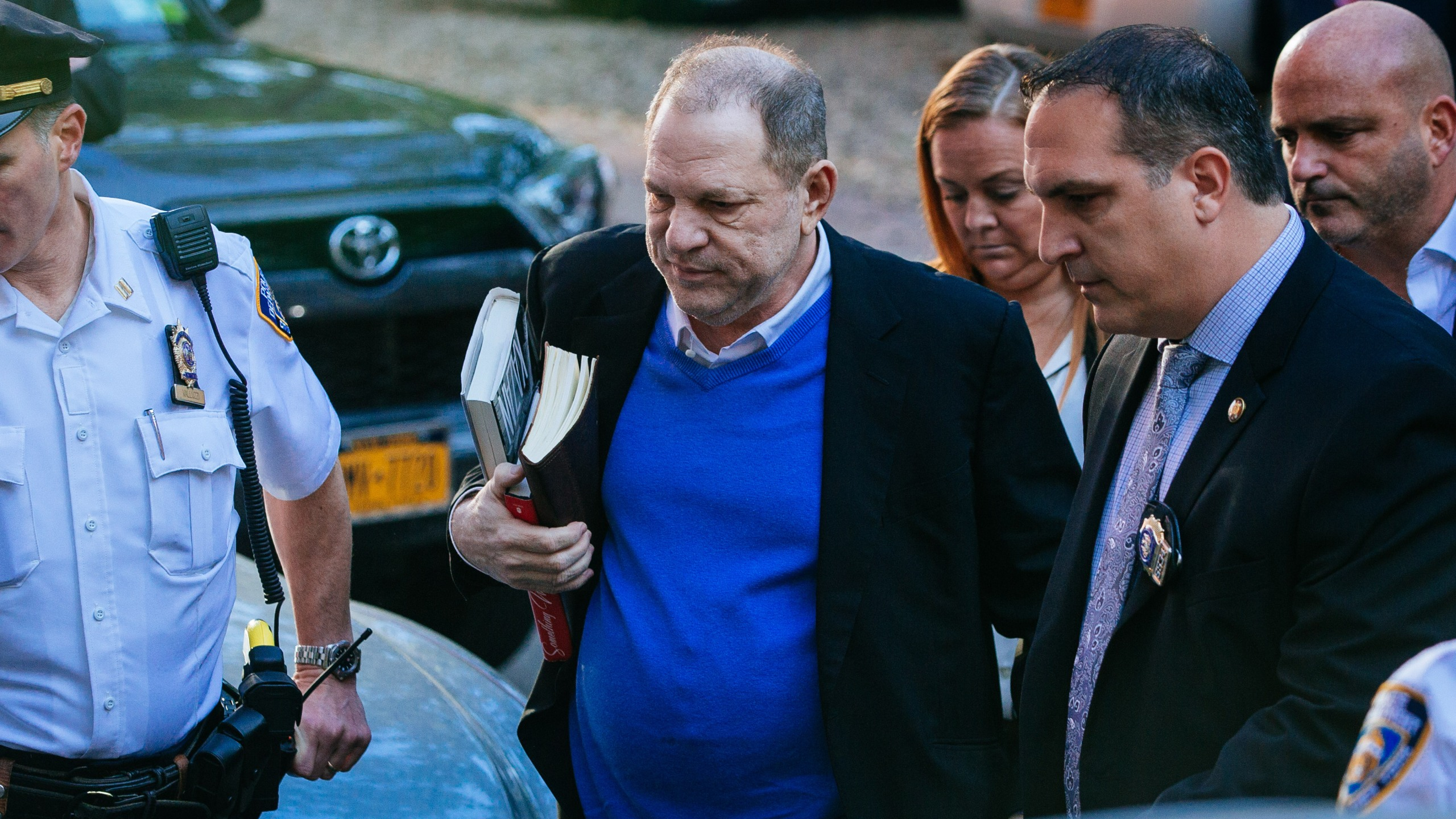 Harvey Weinstein turns himself in to the New York Police Department's First Precinct after being served with criminal charges by the Manhattan District Attorney's office on May 25, 2018, in New York City. (Credit: Kevin Hagen / Getty Images)