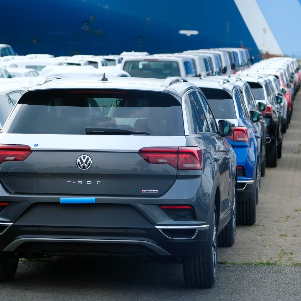 Volkswagen cars wait to be shipped at the harbor in Bremerhaven, northern Germany, on June 1, 2018. (Credit: Patrik Stollarz/AFP/Getty Images)